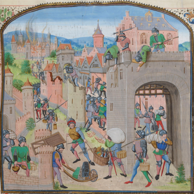 BNF, FR 2644) Jean Froissart, Chronicles, fol. 135 15th Century he men of Ghent capture and pillage Grammont.png