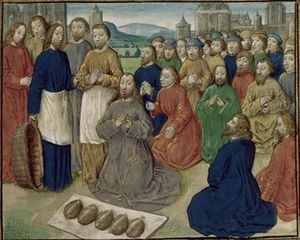 Royal 16 G III f. 86 Christ feeding the Five Thousand (fr.).JPG