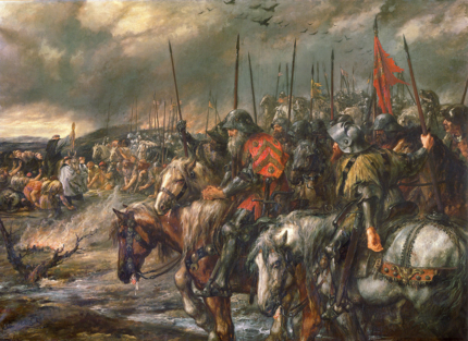 Morning of the Battle of Agincourt, 25th October 1415 Victoria and Albert Museum.PNG