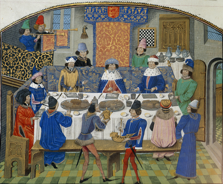 Richard II dines with dukes - Chronique d' Angleterre (Volume III) (late 15th C), f.265v - BL Royal MS 14 E IV1.png
