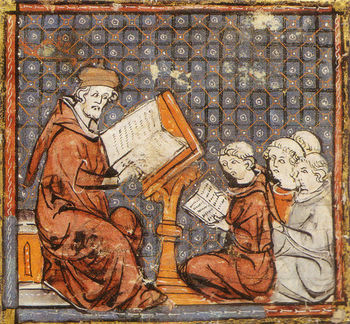 Cours de philosophie a Paris, Grandes Chroniques de France,France,14th MS 116,fol.277 recto.jpg