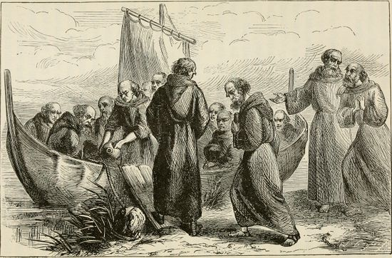 Saint Brendan and his monks set sail for a western land.jpg