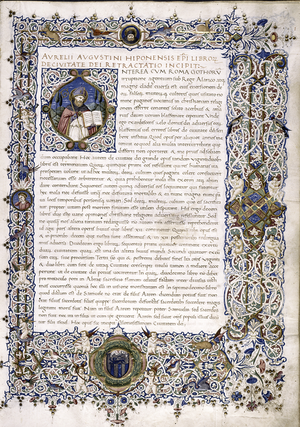 Folio 1r from a manuscript of Augustine's, City of God (De Civitate Dei) (New York Public Library, Spencer Collection MS 30) from 1470 1..png